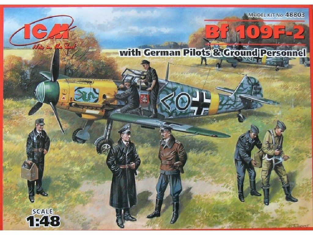 1/48 Plastikový model - Bf 109F-2 w/ German Pilots and Ground Personnel