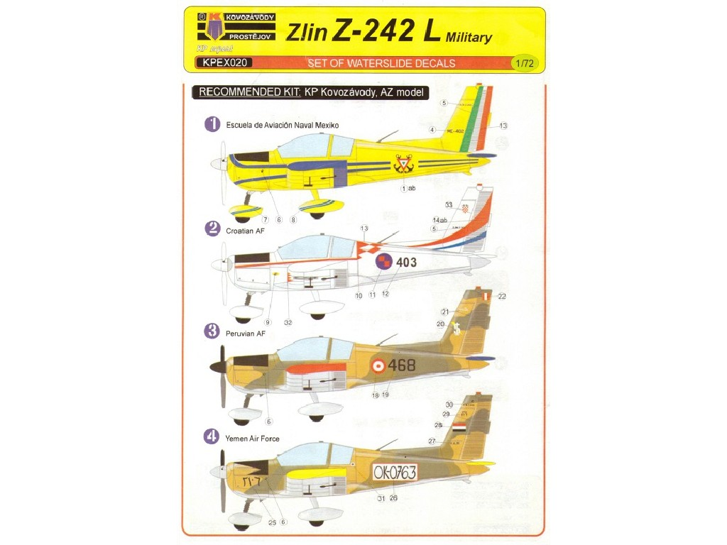 1/72 Z-242L Military 4xdecal