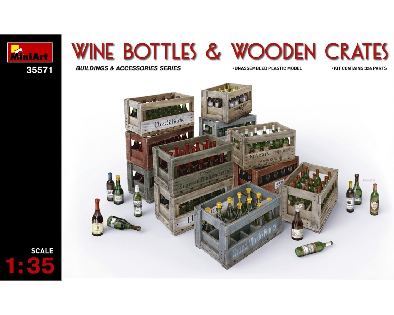 1/35 Wine Bottles and Wooden Crates