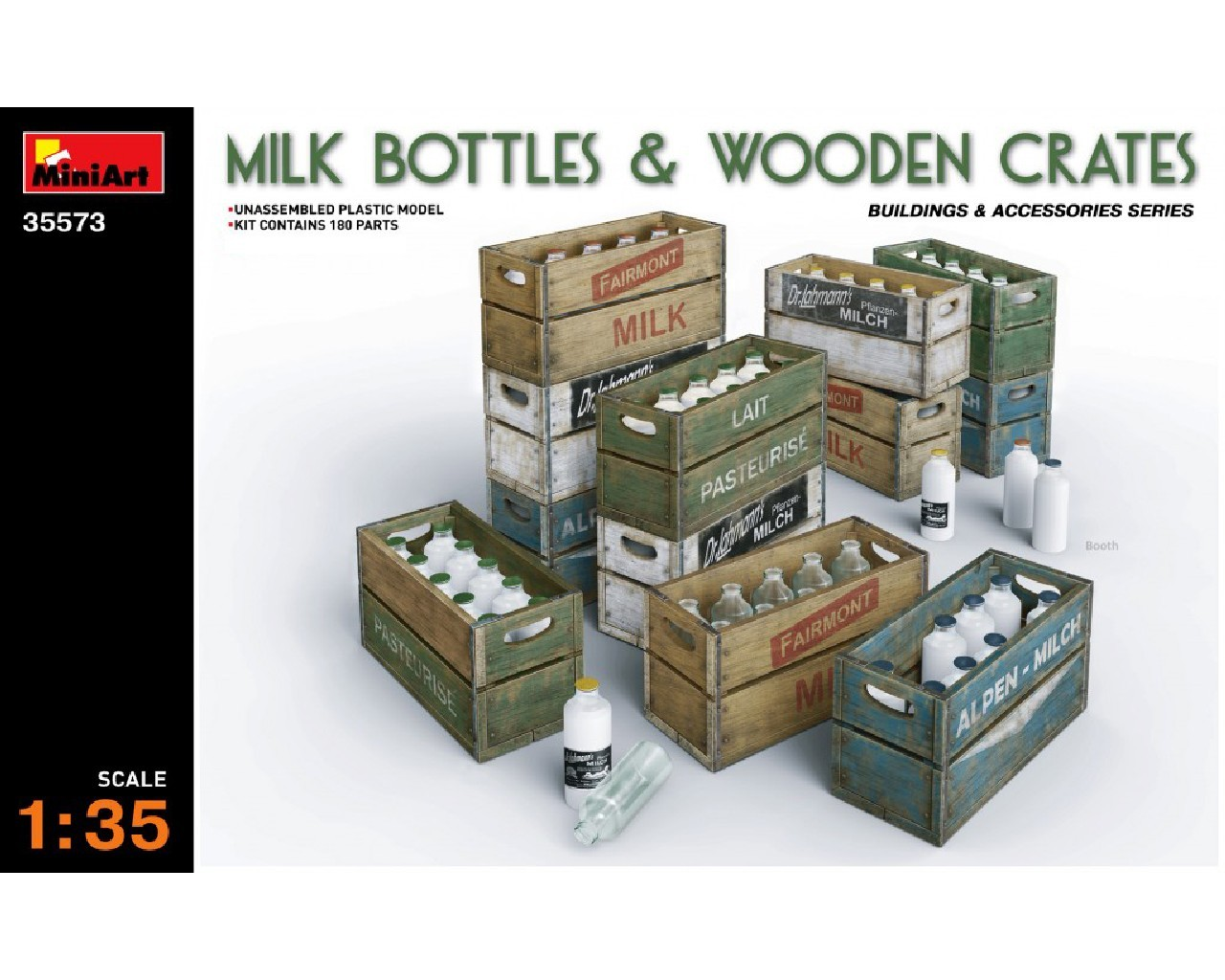 1/35 Milk Bottles and Wooden Crates
