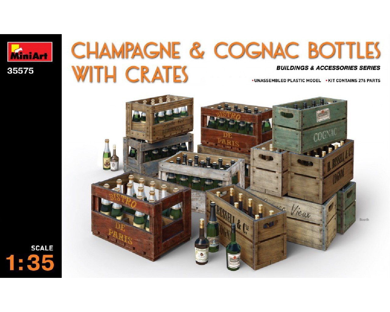 1/35 Champagne and Cognac Bottles w/Crates