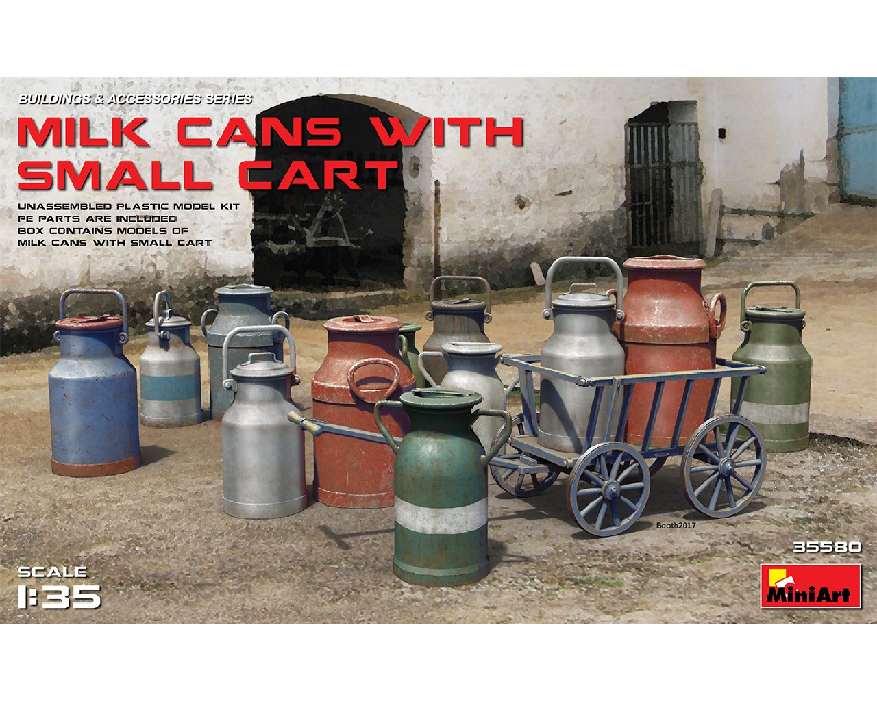 1/35 Milk Cans with Small Cart