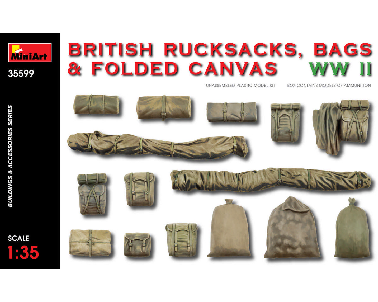 1/35 British Rucksacks, Bags and Folded Canvas WW2