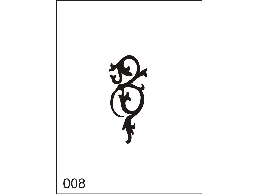 Šablona pro dočasné airbrush tetování M008 - 6,5 x 8,5 cm
