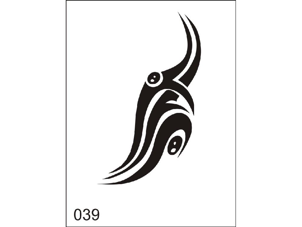 Šablona pro dočasné airbrush tetování M039 - 6,5 x 8,5 cm