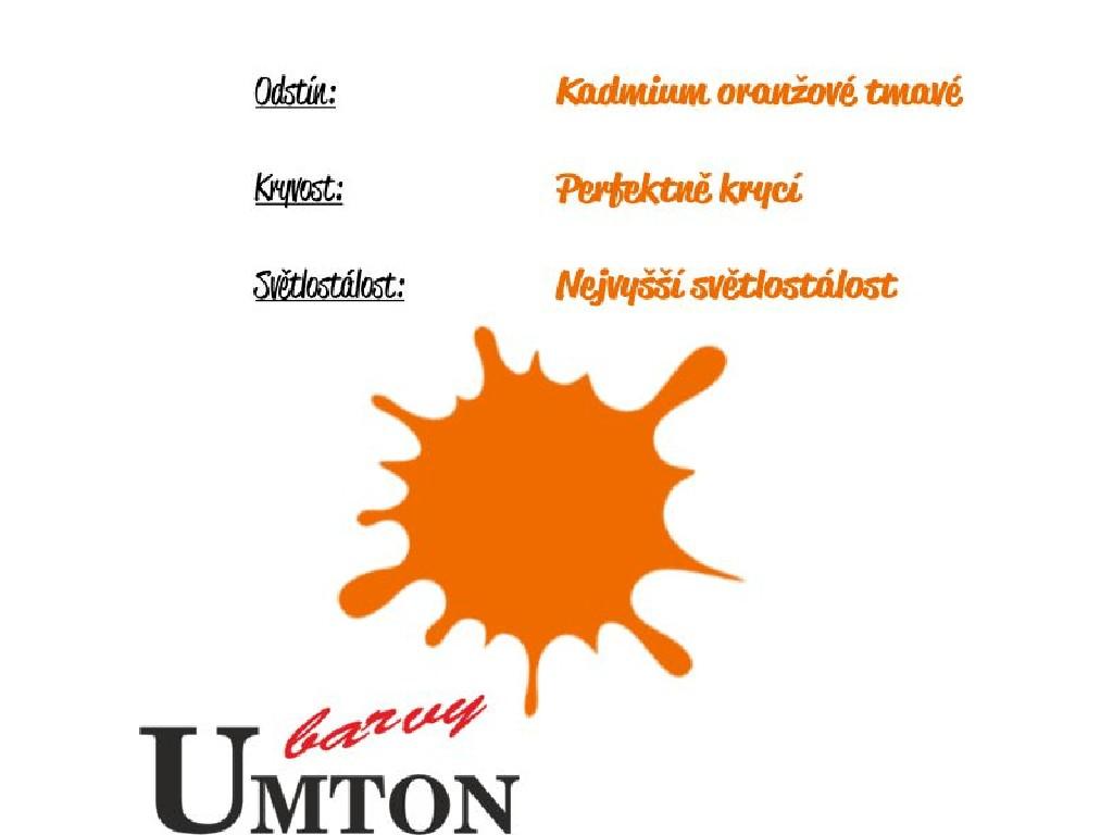 Olejová barva Umton - Kadmium oranžové tmavé 20ml