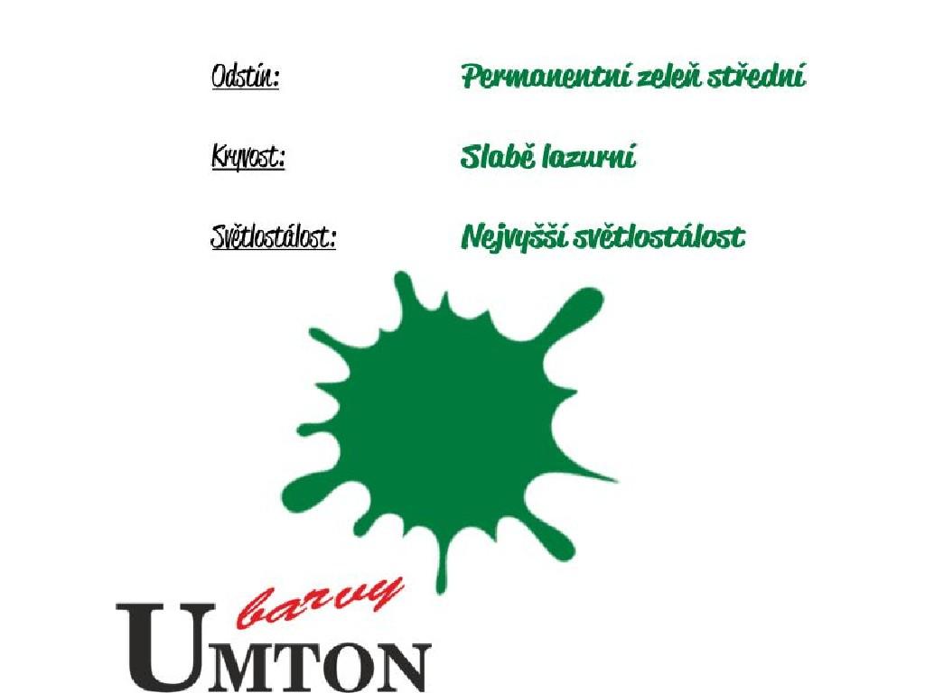 Olejová barva Umton - Permanentní zeleň střední 20ml